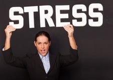 Geschäftsfrau mit dem Wort DRUCK stockfoto