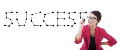 Geschäftsfrau mit dem Wort Erfolg Stockfotos
