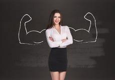 Geschäftsfrau mit den gezogenen leistungsfähigen Händen Stockfotos
