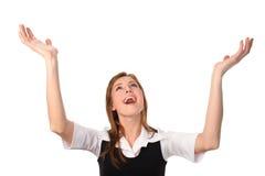Geschäftsfrau mit den Händen in einer Luft Lizenzfreies Stockbild