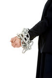 Geschäftsfrau mit den Handschellen Lizenzfreie Stockfotografie