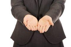 Geschäftsfrau mit den leeren Händen lizenzfreies stockbild