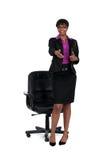 Geschäftsfrau mit der Hand heraus ausgedehnt Stockbild