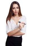 Geschäftsfrau mit der schwarzen Markierung lokalisiert auf weißem Hintergrund Stockfotos