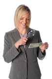 Geschäftsfrau mit Dollarschein stockfotos