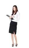 Geschäftsfrau mit einem Aktenkoffer. Stockfotografie