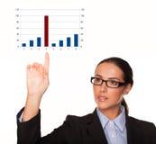 Geschäftsfrau mit einem Balkendiagramm Lizenzfreie Stockfotografie