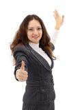 Geschäftsfrau mit einem Faltblatt Stockbilder