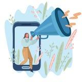 Geschäftsfrau mit einem Megaphon lizenzfreie abbildung