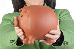 Geschäftsfrau mit einem moneybox Lizenzfreie Stockfotos