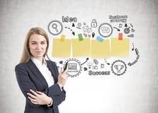 Geschäftsfrau mit einer Markierung, Strategie Stockbild