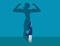 Geschäftsfrau mit einer Schatten- und Karrierestärke Konzeptgeschäft vektor abbildung
