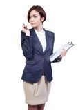 Geschäftsfrau mit einer Tablette Stockfotografie