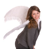 Geschäftsfrau mit Engelsflügel. Lizenzfreies Stockbild