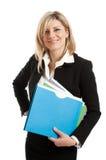 Geschäftsfrau mit Faltblättern stockfotos