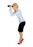 Geschäftsfrau mit Ferngläsern Lizenzfreie Stockbilder