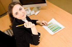 Geschäftsfrau mit Finanzbericht am oofice Stockfotografie