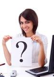 Geschäftsfrau mit Fragezeichen Lizenzfreies Stockbild