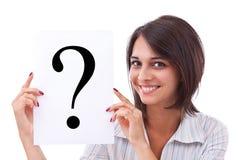 Geschäftsfrau mit Fragezeichen Lizenzfreie Stockbilder
