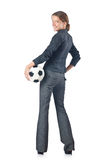 Geschäftsfrau mit Fußball Lizenzfreie Stockfotos