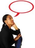 Geschäftsfrau mit Gedanken Lizenzfreies Stockfoto