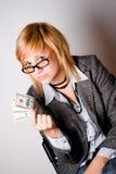 Geschäftsfrau mit Geld Stockbild