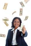 Geschäftsfrau mit Geld Stockfoto