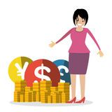 Geschäftsfrau mit Geld prägt Vektorcharakter-Leuteillustration Stockbilder