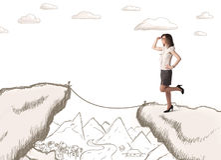 Geschäftsfrau mit gezogenem Rand des Berges Lizenzfreie Stockfotografie