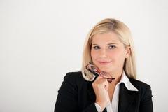 Geschäftsfrau mit Gläsern Stockbilder