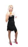 Geschäftsfrau mit Glas Wein und Dokumenten Stockbild