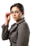 Geschäftsfrau mit Glasnahaufnahme Lizenzfreie Stockfotos