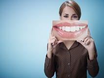 Geschäftsfrau mit großem Mund Lizenzfreies Stockbild