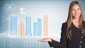 Geschäftsfrau mit High-Techen Wolkenkratzern und Lizenzfreie Stockbilder