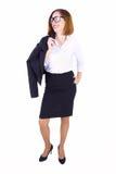 Geschäftsfrau mit ihrer Jacke stockfotografie