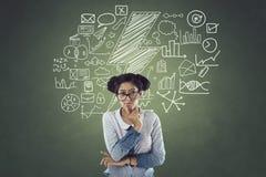 Geschäftsfrau mit Ikonen Lizenzfreie Stockbilder