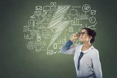 Geschäftsfrau mit Ikonen Lizenzfreies Stockfoto