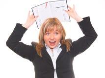Geschäftsfrau mit Kalender Lizenzfreie Stockfotografie