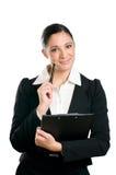 Geschäftsfrau mit Klemmbrett Stockfoto
