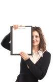 Geschäftsfrau mit Klemmbrett Lizenzfreies Stockfoto