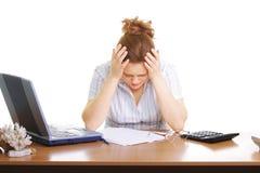 Geschäftsfrau mit Kopfschmerzen Lizenzfreie Stockbilder