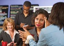 Geschäftsfrau mit Kopfschmerzen Stockfotografie