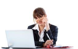 Geschäftsfrau mit Laptop Stockfotografie