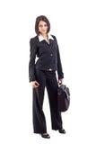 Geschäftsfrau mit Laptopbeutel lizenzfreie stockfotografie