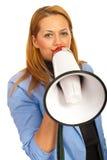 Geschäftsfrau mit Lautsprecher Stockbild