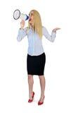 Geschäftsfrau mit Lautsprecher Lizenzfreies Stockfoto