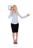 Geschäftsfrau mit Lautsprecher Lizenzfreie Stockfotografie