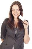 Geschäftsfrau mit leerem Leerzeichen Stockfotografie