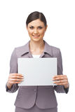 Geschäftsfrau mit leerer Anschlagtafel Stockfotos
