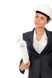 Geschäftsfrau mit Lichtpausen stockfoto